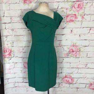 J crew green origami wool sheath dress